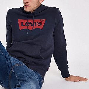 Levi's - marineblauwe hoodie met print