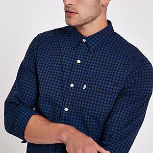 Levi's blue check print long sleeve shirt
