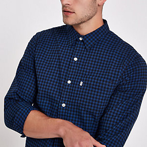 Levi's blue check print long sleeve shirt
