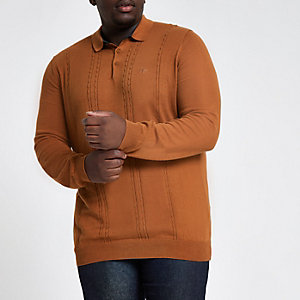 Big & Tall brown cable long sleeve polo shirt