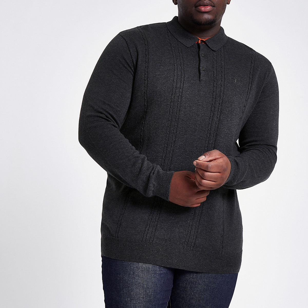 Big and Tall dark grey slim cable polo shirt