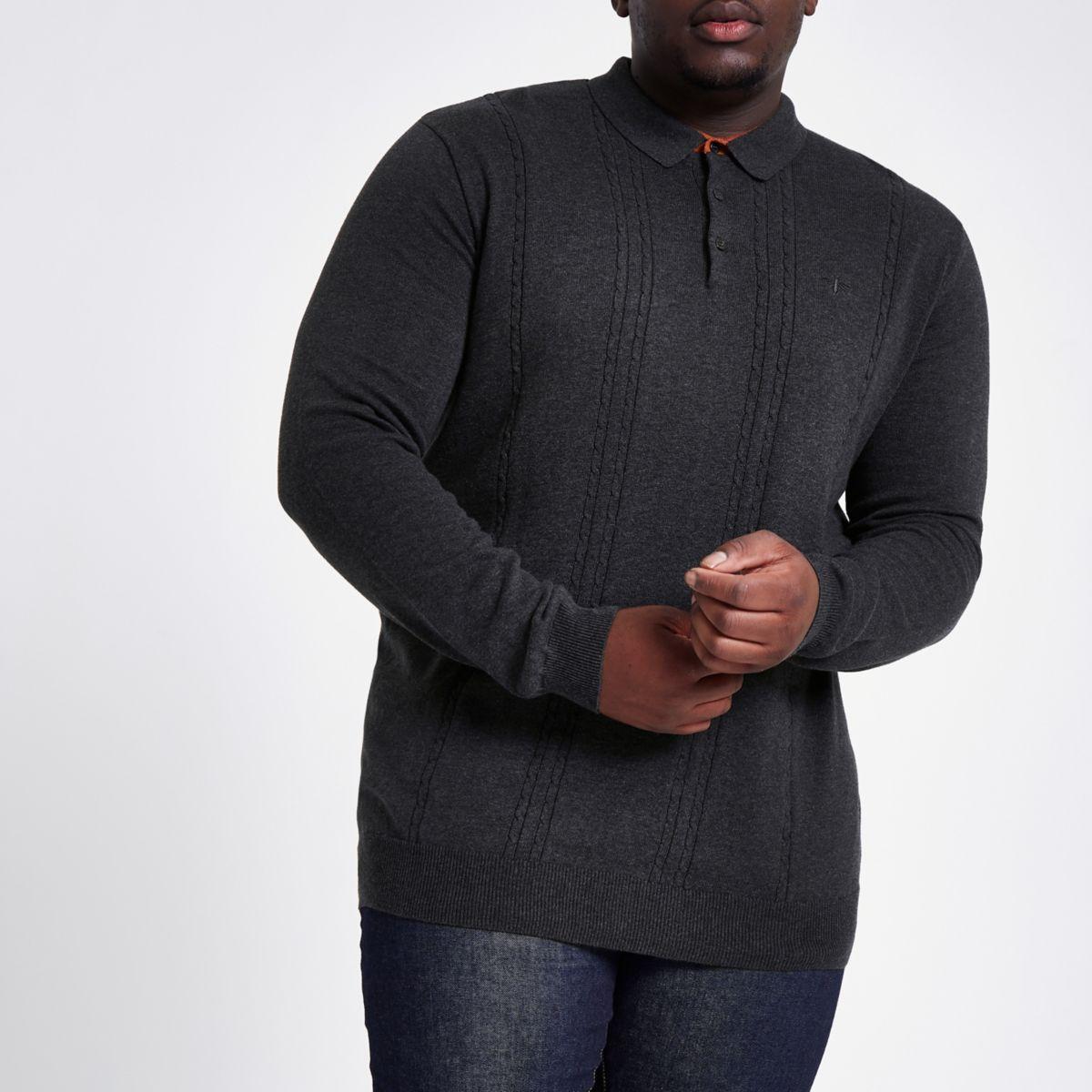 Big & Tall dark grey slim cable polo shirt
