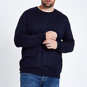 Big and Tall - Marineblauwe pullover met ronde hals