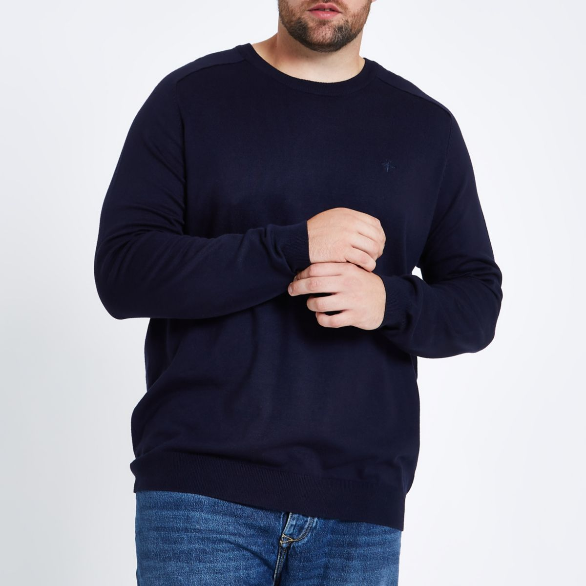 Big and Tall navy crew neck jumper