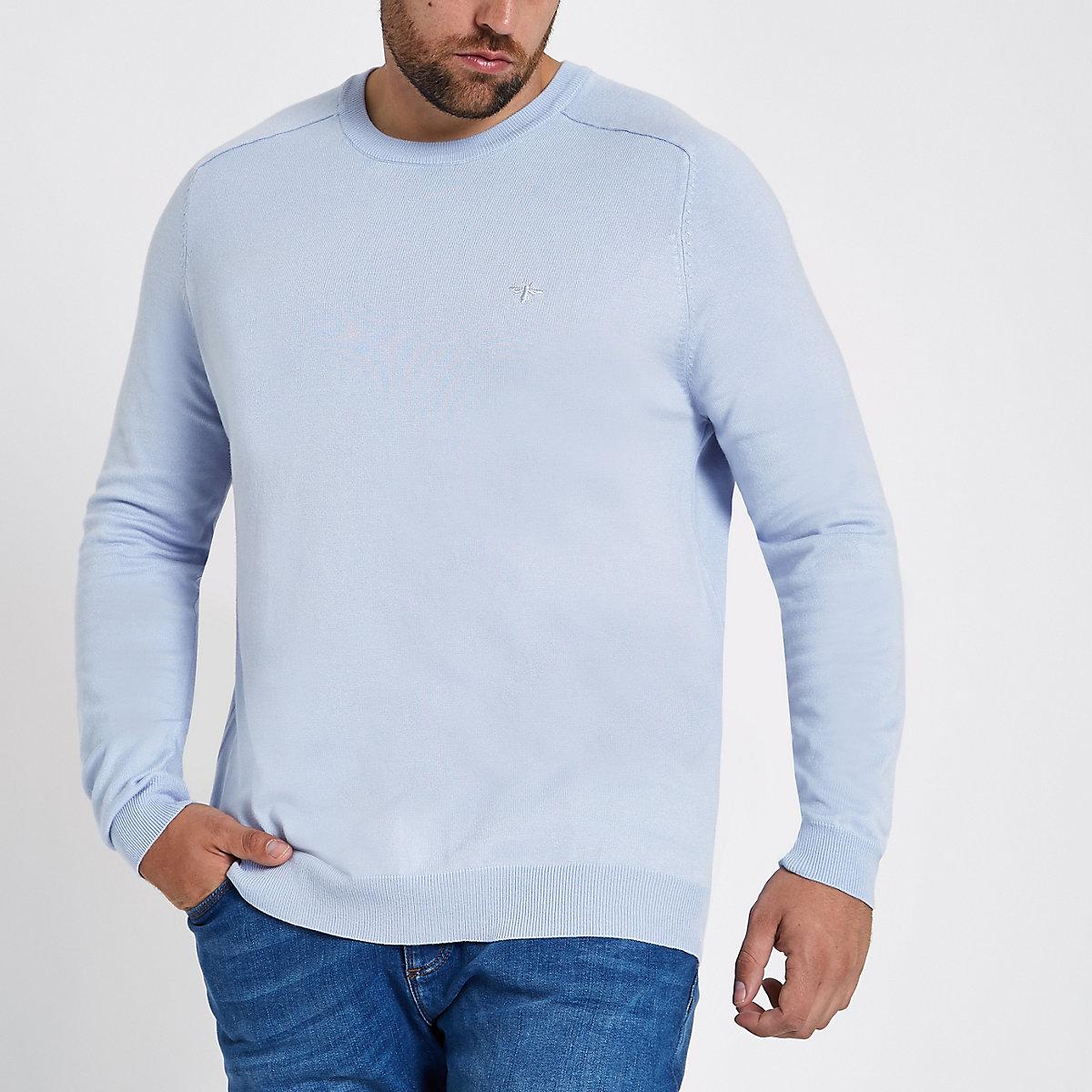 Big & Tall – Blauer Slim Fit Pullover mit Rundhalsausschnitt