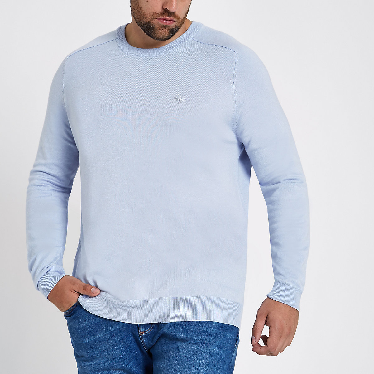 Big and Tall blue slim fit crew neck sweater