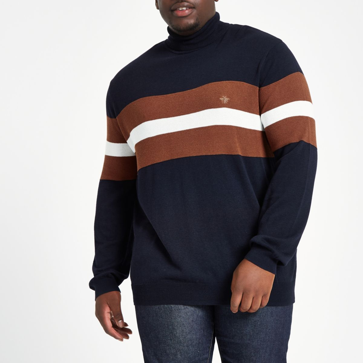 Big & Tall navy slim fit colour block jumper