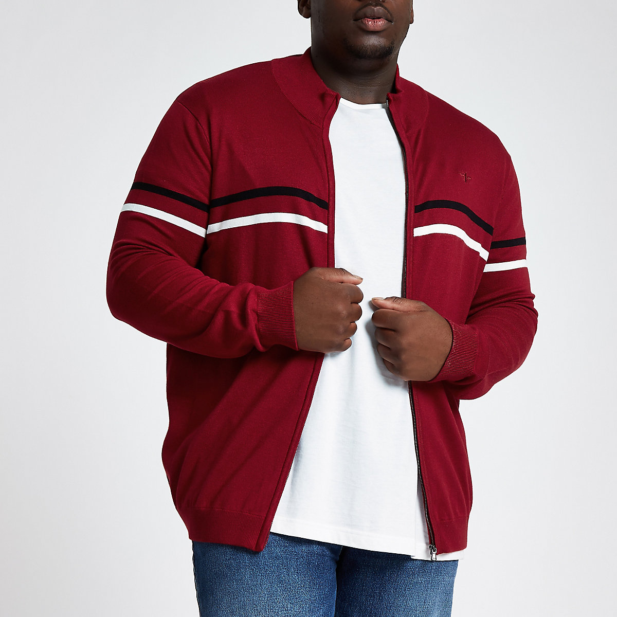 Big and Tall red slim funnel neck zip jumper