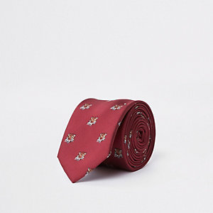 Cravate rouge à imprimé tigre