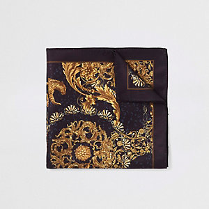 Black baroque print pocket square