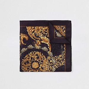 Schwarzes Einstecktuch mit Barock-Print
