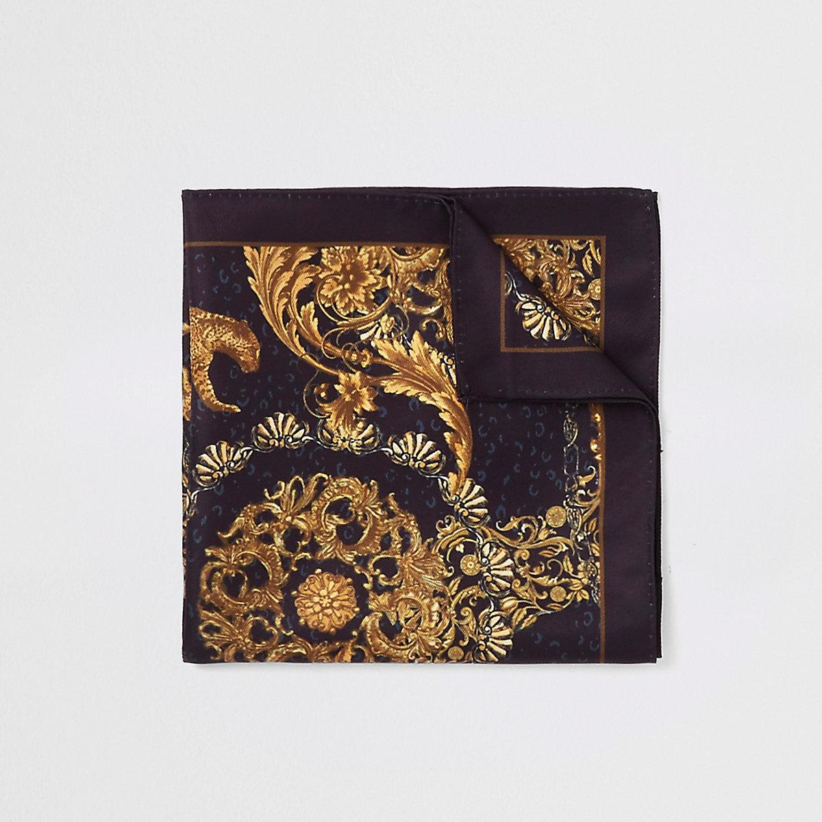 Black baroque print pocket square