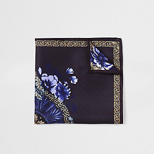 Black tiger print pocket square