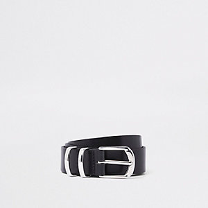 RI 30 leather silver tone buckle belt