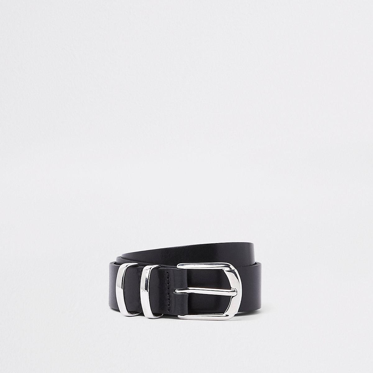 RI 30 leather silver tone buckle belt