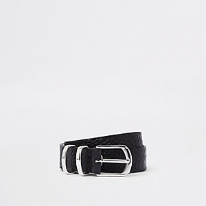 RI 30 leather croc silver tone buckle belt