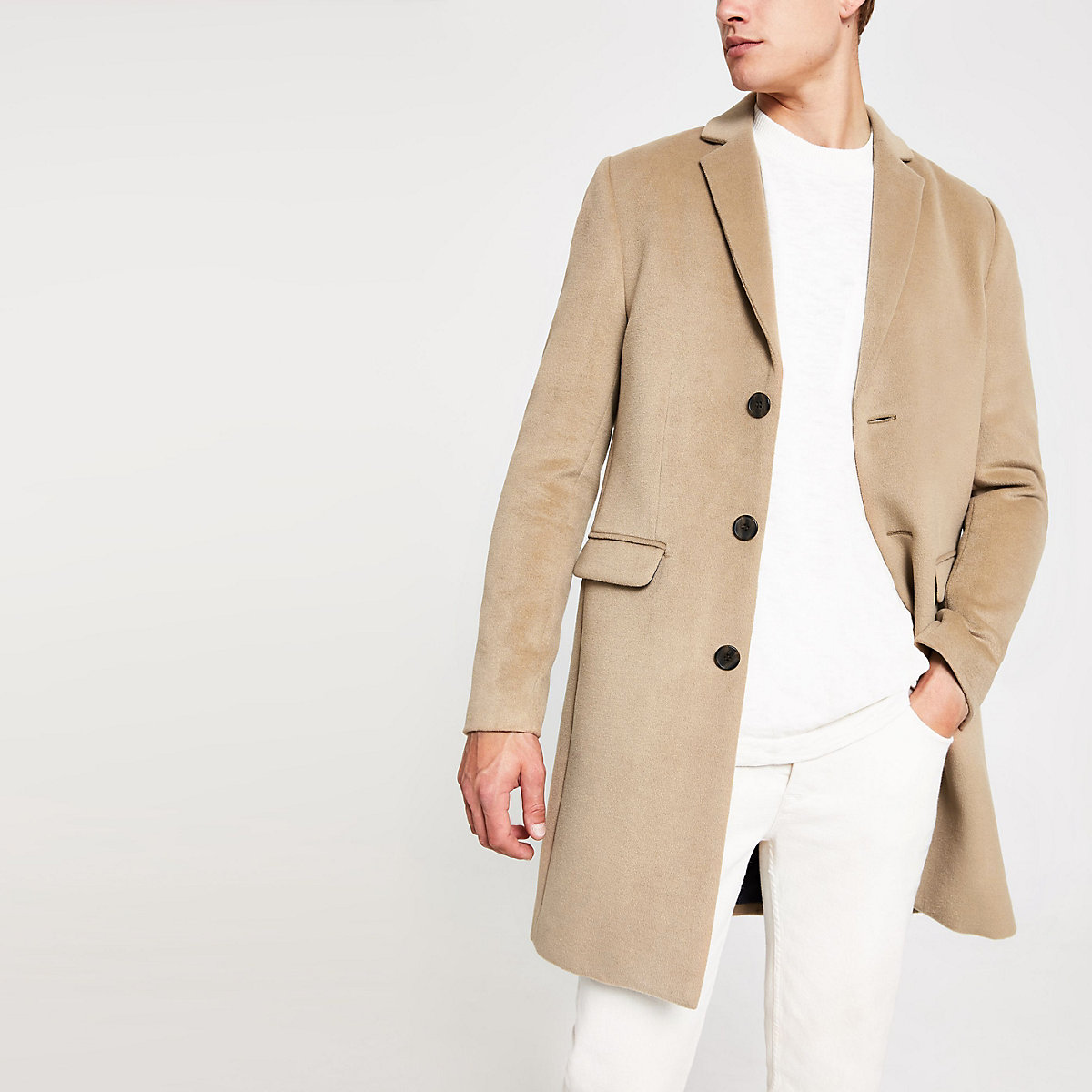 Camel button-down overcoat