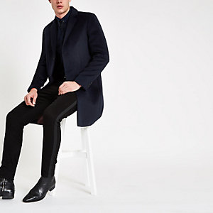 Navy button-down overcoat