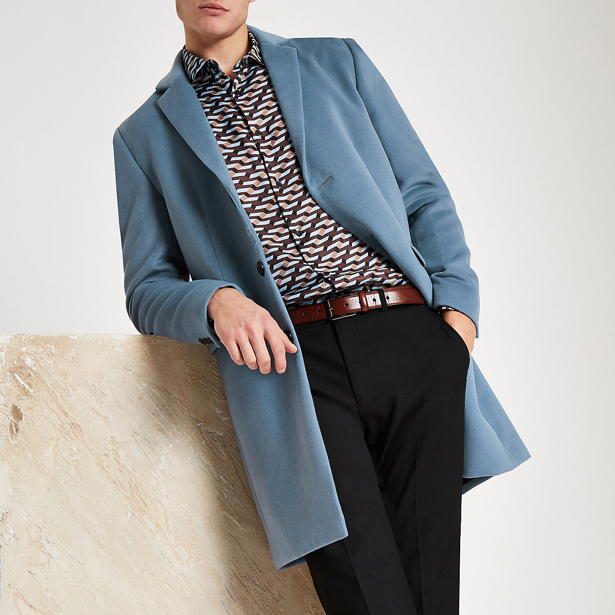 Blue long sleeve overcoat