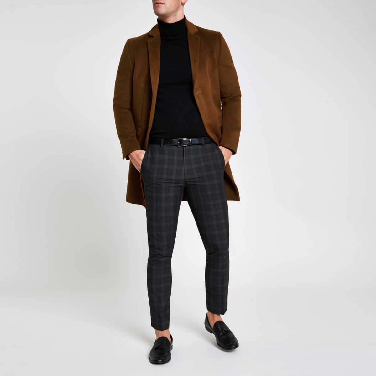 Brown button up overcoat