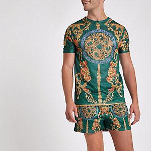 Grünes Slim Fit T-Shirt mit Barock-Print