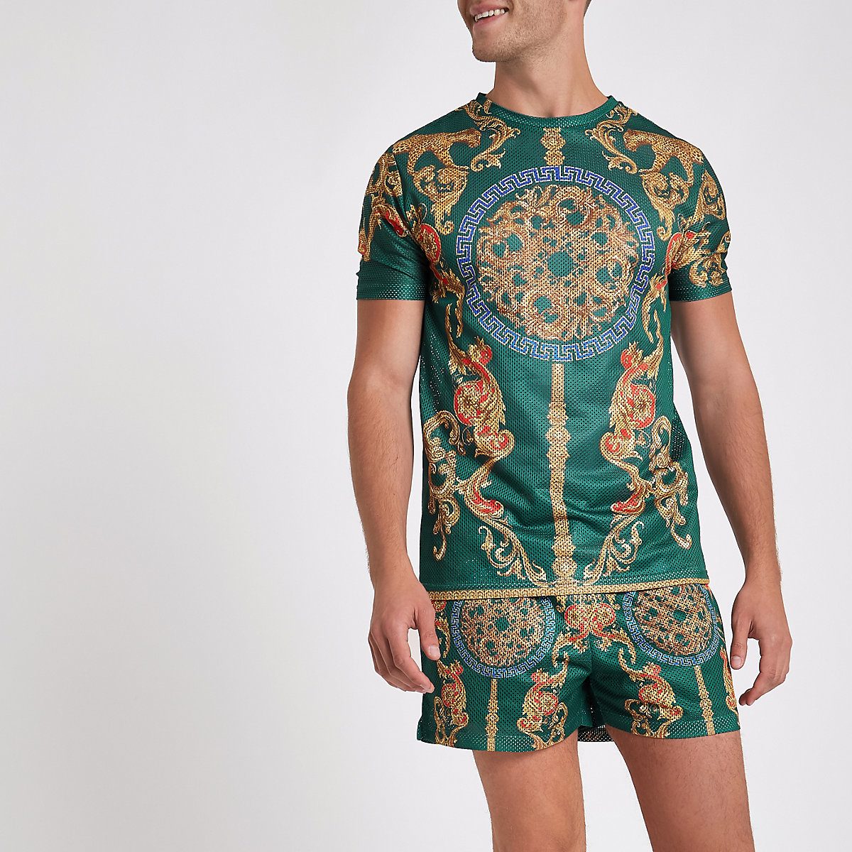 Green mesh baroque print slim fit T-shirt