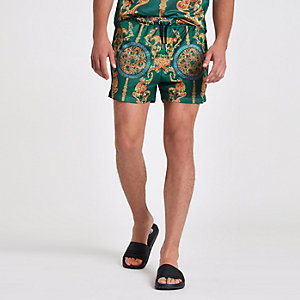Grüne Slim Fit Shorts mit Print