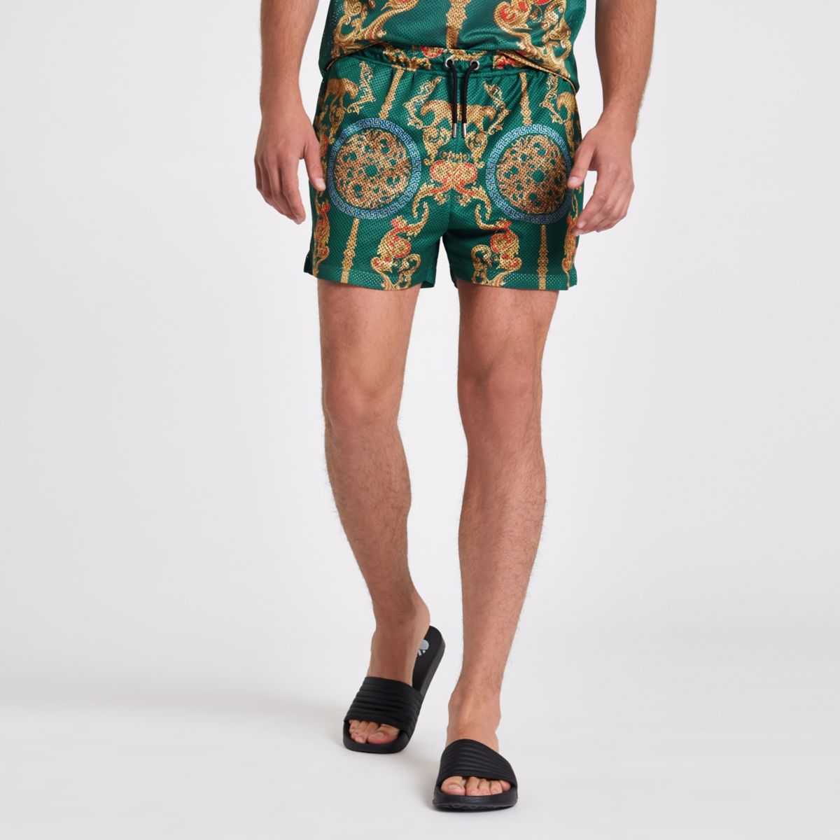 Green mesh baroque print slim fit shorts