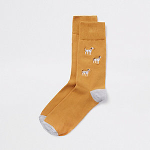 Chaussettes fantaisie jaunes à broderie chien
