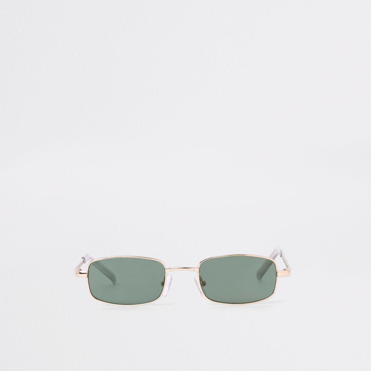 Gold tone narrow lens sunglasses