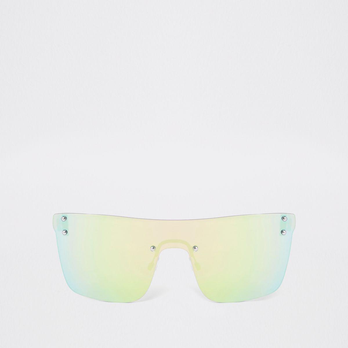 Grey mirrored visor sunglasses