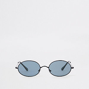 Silver tone grey lens round sunglasses