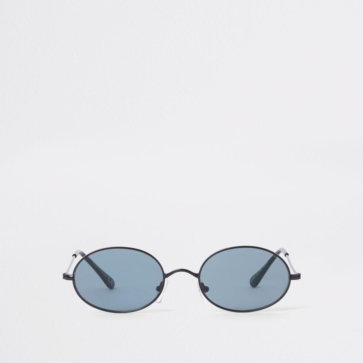 Silver tone grey lens round sunglasses