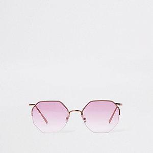 Lunettes de soleil or rose octogonales avec verres violets
