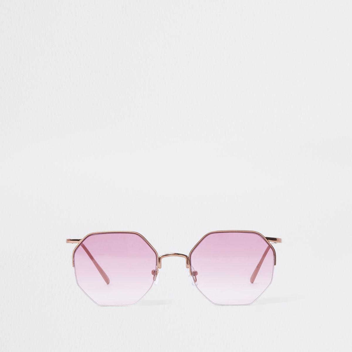 Rose gold tone octagon purple lens sunglasses