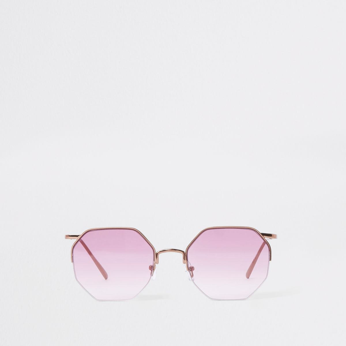 Rose gold tone octagon purple lens sunglasses