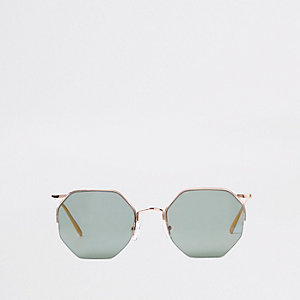 Rose gold octagon sunglasses