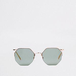 Roségoudkleurige achthoekige zonnebril