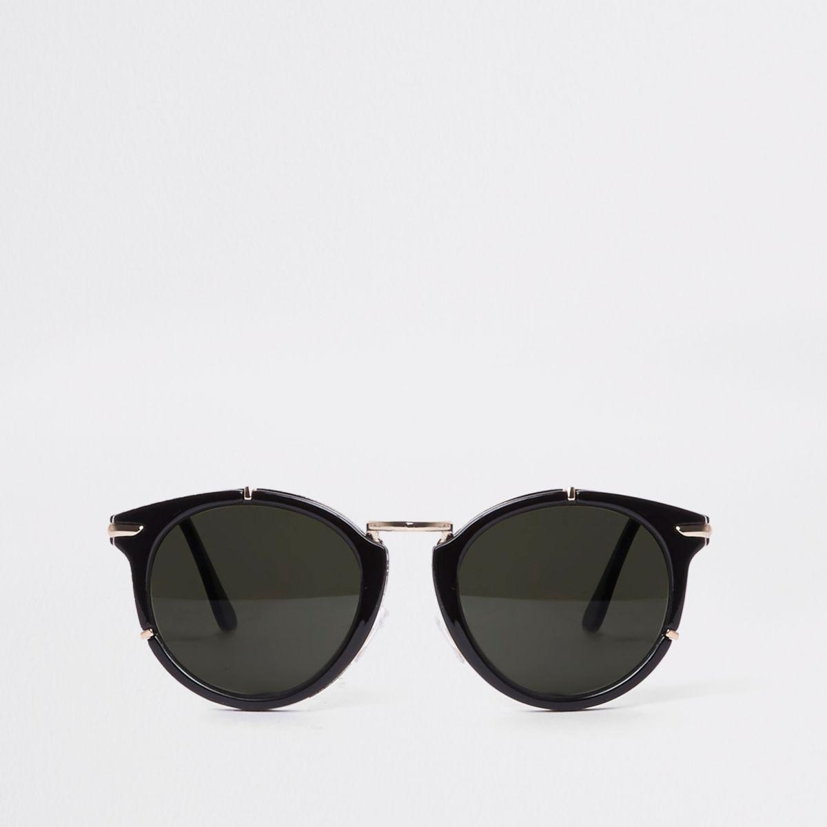 Black gold tone cat eye sunglasses