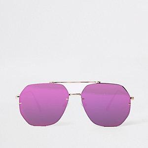 Lunettes de soleil aviateur roses verres effet miroir