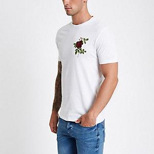 Wit slim-fit T-shirt met geborduurde roos
