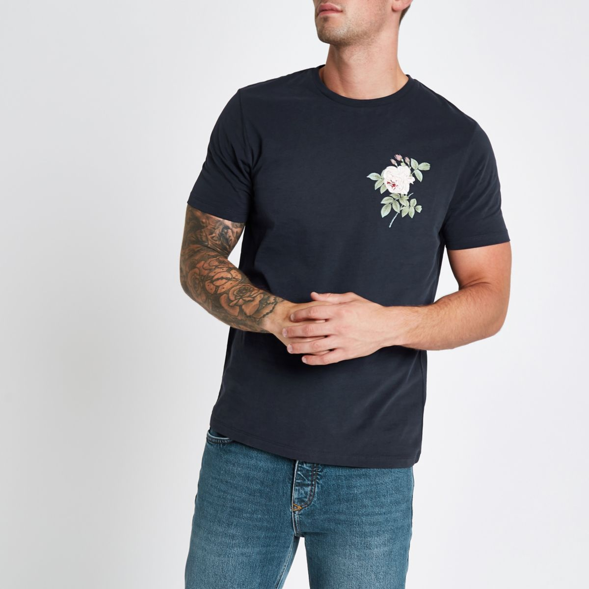 Navy rose embroidered slim fit T-shirt