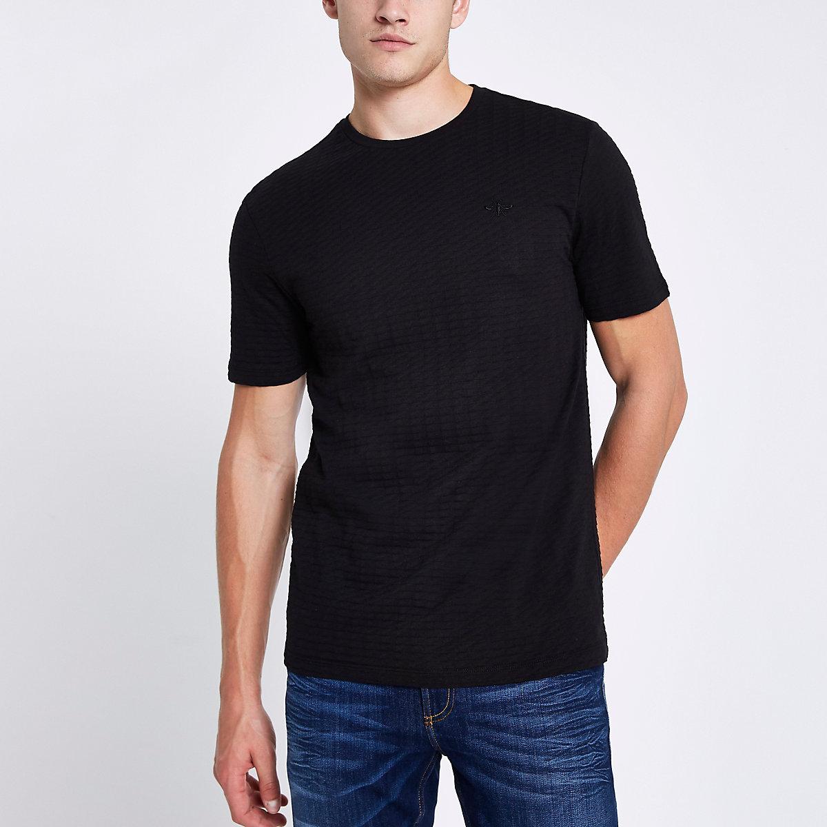 Schwarzes Slim Fit T-Shirt mit kurzen Ärmeln