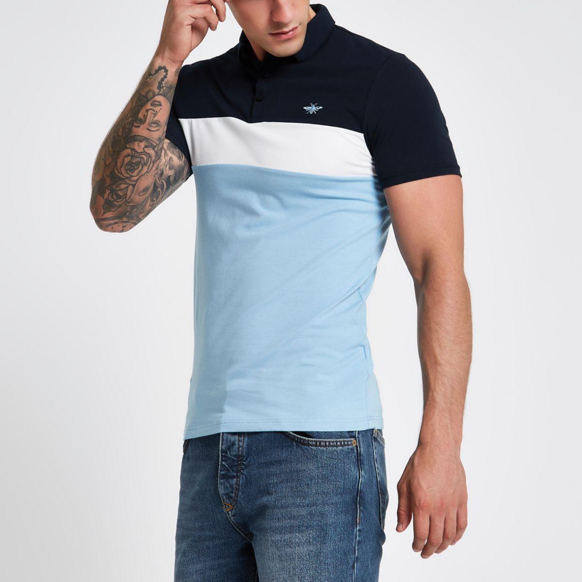 shirt polo fit print Blue muscle block txwqIRcX0
