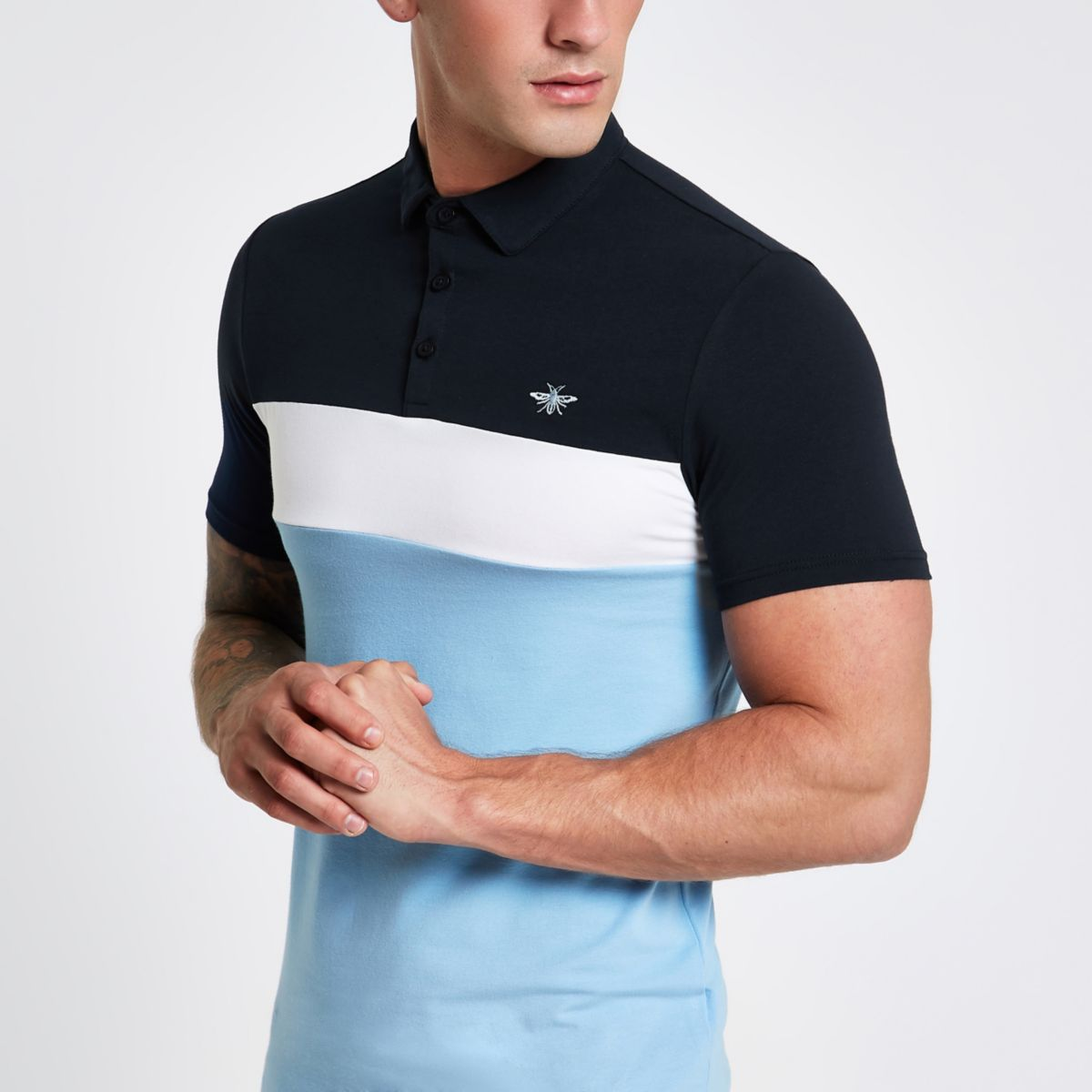 Blue block print muscle fit polo shirt