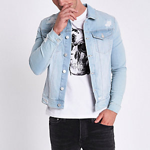 Light blue muscle fit ripped denim jacket