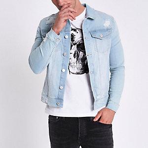 Veste ajustée en jean déchiré bleu clair