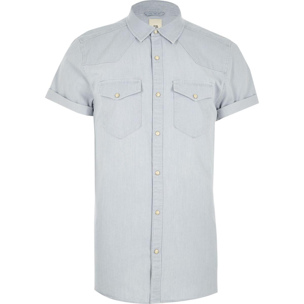 fit style denim slim western shirt Blue O1YtqgW