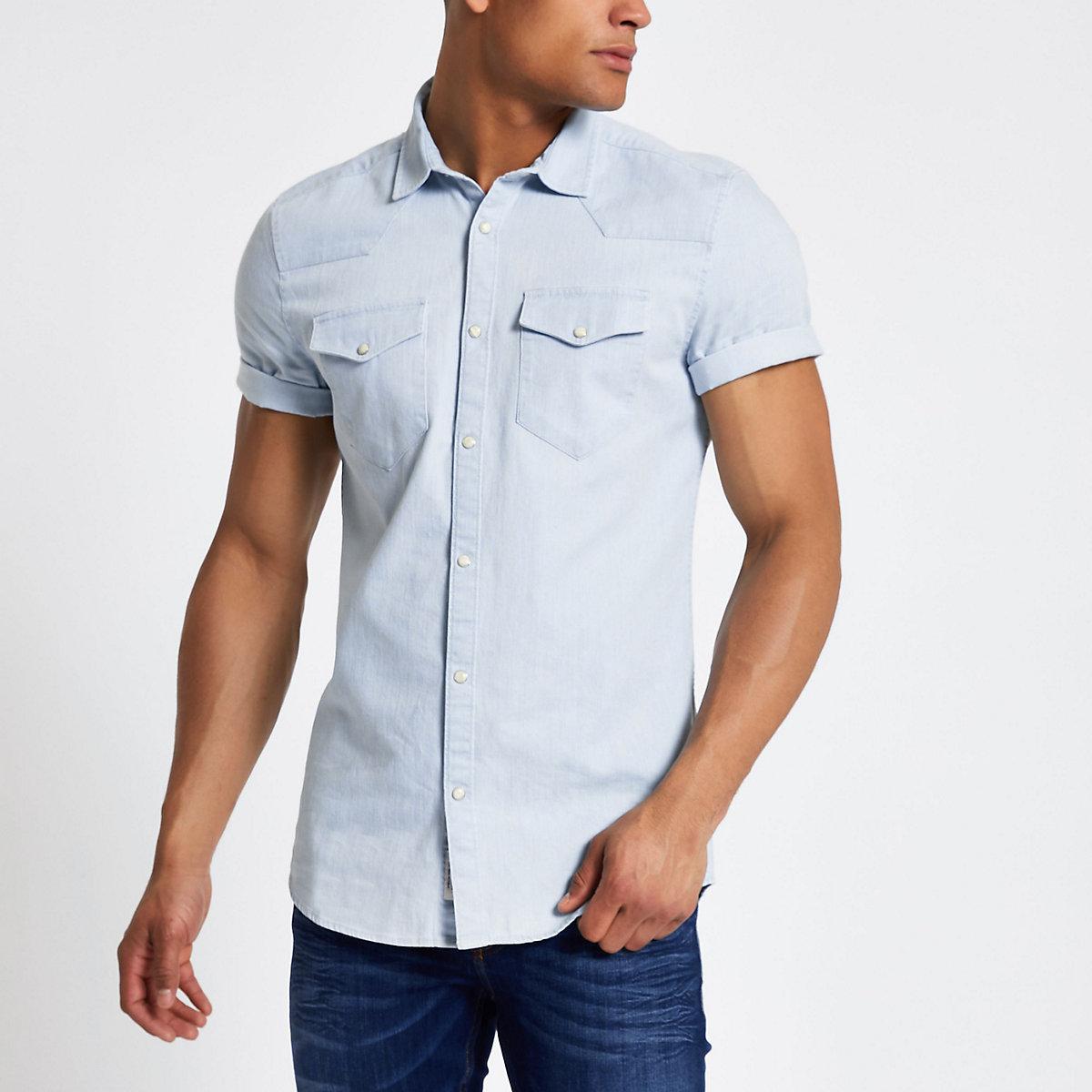 Blue western style slim fit denim shirt
