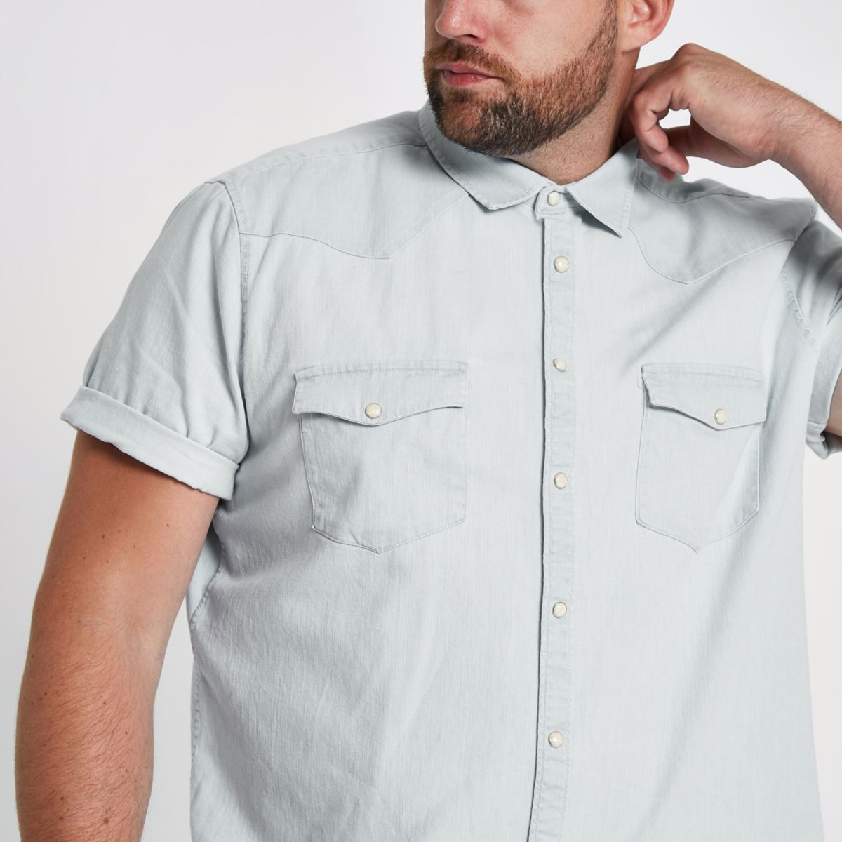 blue Big and Tall denim shirt vqEqrw